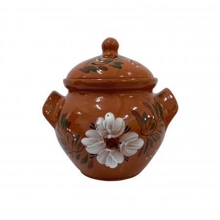 Oala din ceramica de Arges realizata manual, Argcoms, Sarmale, Cu capac, Pictura florala, Mica0