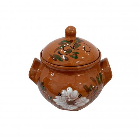Oala din ceramica de Arges realizata manual, Argcoms, Sarmale, Cu capac, Pictura florala, Mica1