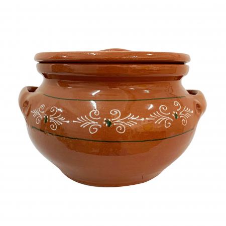 Oala din ceramica de Arges realizata manual, Argcoms, Sarmale, Cu capac, Pictura traditionala, Mare0
