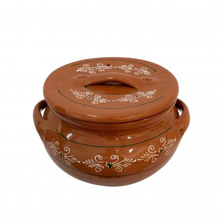 Oala din ceramica de Arges realizata manual, Argcoms, Sarmale, Cu capac, Pictura traditionala, Mare1