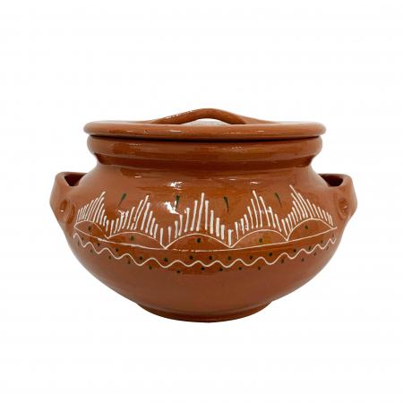 Oala din ceramica de Arges realizata manual, Argcoms, Sarmale, Cu capac, Pictura traditionala, Medie0