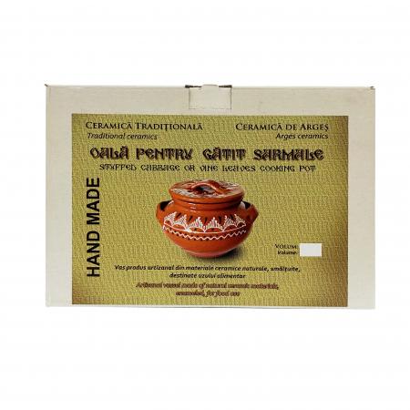 Oala din ceramica de Arges realizata manual, Argcoms, Sarmale, Cu capac, Pictura traditionala, Medie2