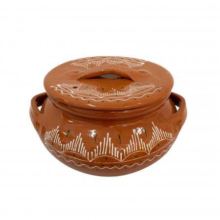 Oala din ceramica de Arges realizata manual, Argcoms, Sarmale, Cu capac, Pictura traditionala, Medie1