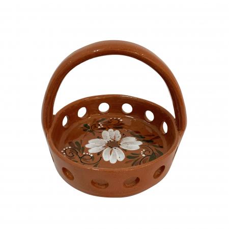 Oliviera din ceramica de Arges realizata manual, Argcoms, Traforata, 4 dozatoare, Pictura florala2