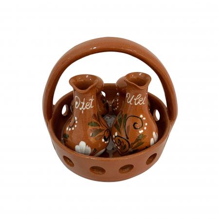 Oliviera din ceramica de Arges realizata manual, Argcoms, Traforata, 4 dozatoare, Pictura florala1