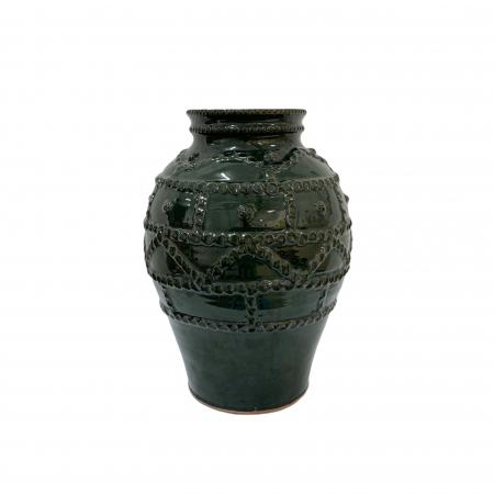Otetar din ceramica de Arges realizat manual, Argcoms, Glazurat, Fara toarte, Decor brau alveolat0