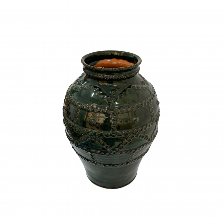 Otetar din ceramica de Arges realizat manual, Argcoms, Glazurat, Fara toarte, Decor brau alveolat1