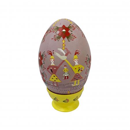 Ou de Paste din ceramica de Arges realizat manual, Argcoms, Motiv traditional, Ø13 cm0