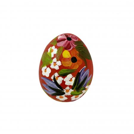 Ou de Paste din ceramica de Arges realizat manual, Argcoms, Pictura florala (2), Ø5 cm, Rosu0