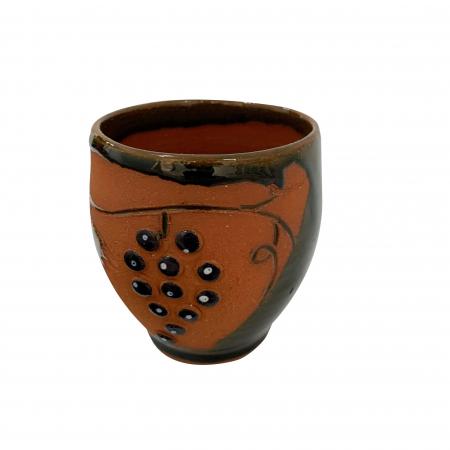 Pahar din ceramica de Arges realizat manual, Argcoms, Vin, Tema viticola