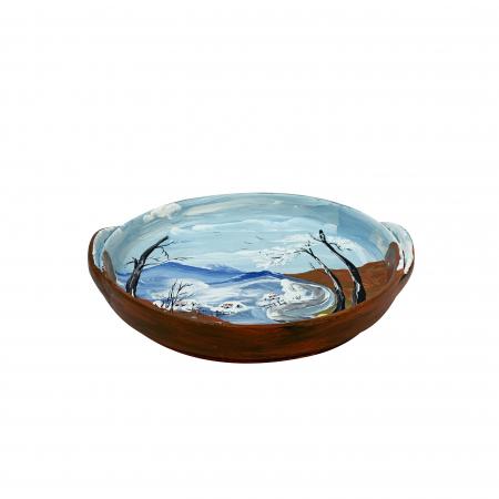 Platou decorativ din ceramica de Arges realizat manual, Argcoms, Peisaj de iarna (1), Ø22 cm1