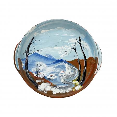 Platou decorativ din ceramica de Arges realizat manual, Argcoms, Peisaj de iarna (1), Ø22 cm0