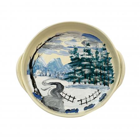 Platou decorativ din ceramica de Arges realizat manual, Argcoms, Peisaj de iarna (2), Ø22 cm0