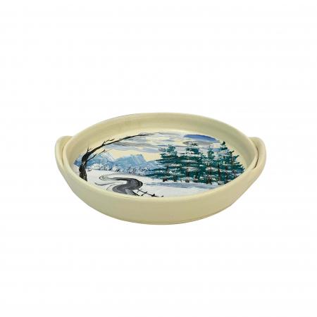Platou decorativ din ceramica de Arges realizat manual, Argcoms, Peisaj de iarna (2), Ø22 cm1