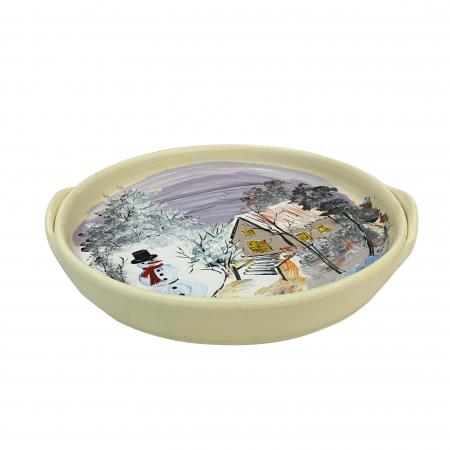 Platou decorativ din ceramica de Arges realizat manual, Argcoms, Peisaj de iarna, Ø26 cm1