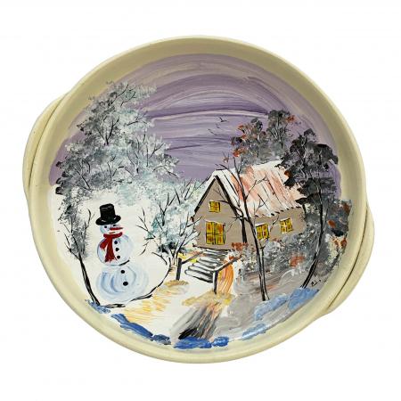 Platou decorativ din ceramica de Arges realizat manual, Argcoms, Peisaj de iarna, Ø26 cm0
