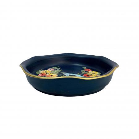 Platou decorativ din ceramica de Arges realizat manual, Argcoms, Pictura florala, Ø25 cm, Albastru1