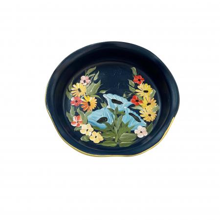 Platou decorativ din ceramica de Arges realizat manual, Argcoms, Pictura florala, Ø25 cm, Albastru0