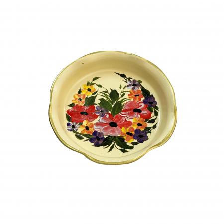 Platou decorativ din ceramica de Arges realizat manual, Argcoms, Pictura florala, Ø25 cm, Crem0