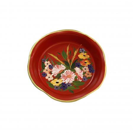Platou decorativ din ceramica de Arges realizat manual, Argcoms, Pictura florala, Ø25 cm, Rosu0