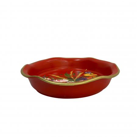 Platou decorativ din ceramica de Arges realizat manual, Argcoms, Pictura florala, Ø25 cm, Rosu1