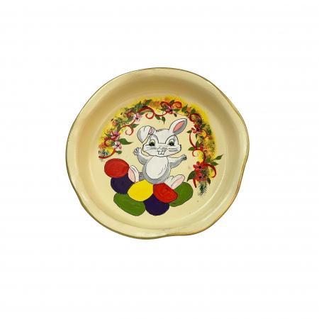 Platou decorativ din ceramica de Arges realizat manual, Argcoms, Sarbatorile Pascale, Ø26 cm, Crem0