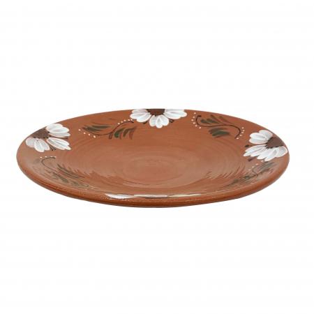 Platou din ceramica de Arges realizat manual, Argcoms, Pictura florala, Mare