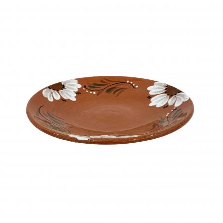 Platou din ceramica de Arges realizat manual, Argcoms, Pictura florala, Mic