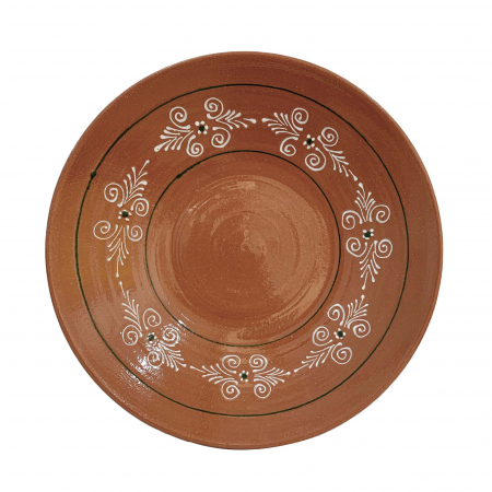 Platou din ceramica de Arges realizat manual, Argcoms, Pictura traditionala, Mare1