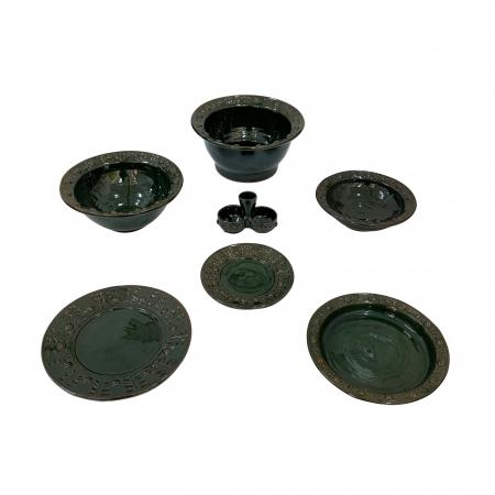 Serviciu de masa pentru 6 persoane din ceramica de Arges realizat manual, Argcoms, 22 bucati/set, Ornament cu bumbi si braduti0