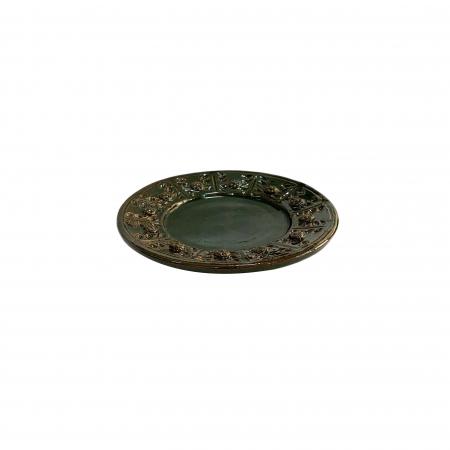 Serviciu de masa pentru 6 persoane din ceramica de Arges realizat manual, Argcoms, 22 bucati/set, Ornament cu bumbi si braduti16