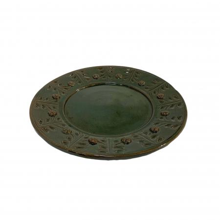 Serviciu de masa pentru 6 persoane din ceramica de Arges realizat manual, Argcoms, 22 bucati/set, Ornament cu bumbi si braduti13