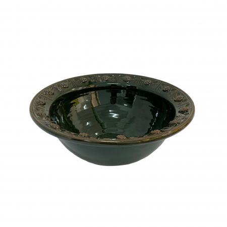 Serviciu de masa pentru 6 persoane din ceramica de Arges realizat manual, Argcoms, 22 bucati/set, Ornament cu bumbi si braduti5