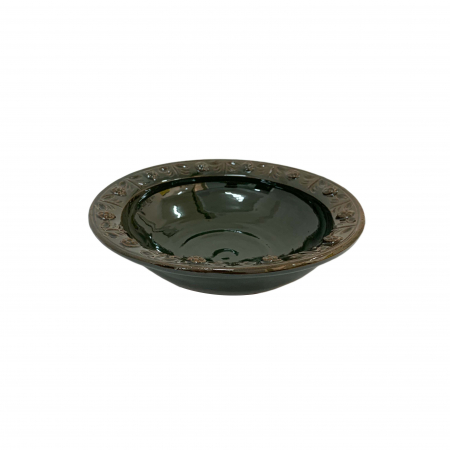 Serviciu de masa pentru 6 persoane din ceramica de Arges realizat manual, Argcoms, 22 bucati/set, Ornament cu bumbi si braduti8