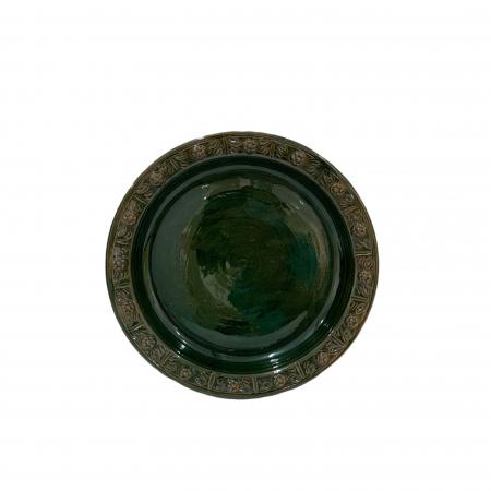 Serviciu de masa pentru 6 persoane din ceramica de Arges realizat manual, Argcoms, 22 bucati/set, Ornament cu bumbi si braduti12