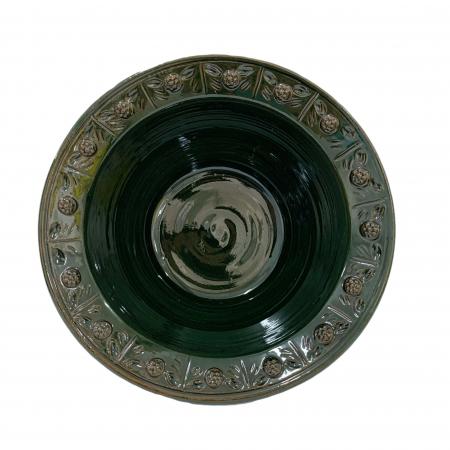 Serviciu de masa pentru 6 persoane din ceramica de Arges realizat manual, Argcoms, 22 bucati/set, Ornament cu bumbi si braduti3