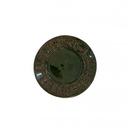 Serviciu de masa pentru 6 persoane din ceramica de Arges realizat manual, Argcoms, 22 bucati/set, Ornament cu bumbi si braduti17