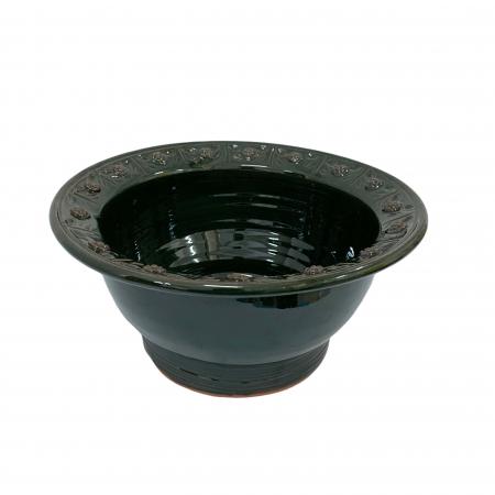 Serviciu de masa pentru 6 persoane din ceramica de Arges realizat manual, Argcoms, 22 bucati/set, Ornament cu bumbi si braduti2