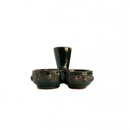 Serviciu de masa pentru 6 persoane din ceramica de Arges realizat manual, Argcoms, 22 bucati/set, Ornament cu bumbi si braduti18