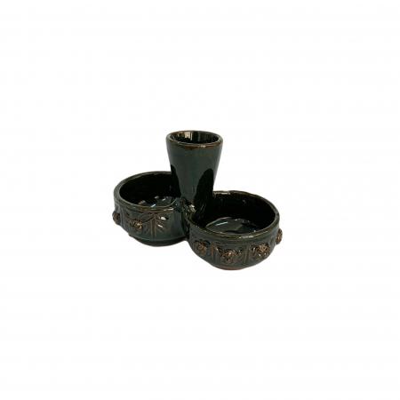 Serviciu de masa pentru 6 persoane din ceramica de Arges realizat manual, Argcoms, 22 bucati/set, Ornament cu bumbi si braduti19