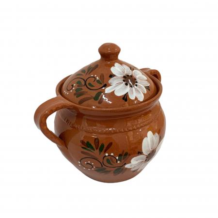 Supiera din ceramica de Arges realizata manual, Argcoms, Cu capac, Cu 2 toarte, Pictura florala2