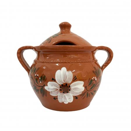 Supiera din ceramica de Arges realizata manual, Argcoms, Cu capac, Cu 2 toarte, Pictura florala