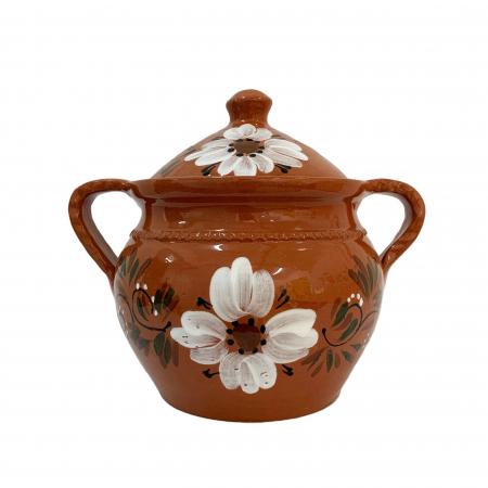 Supiera din ceramica de Arges realizata manual, Argcoms, Cu capac, Cu 2 toarte, Pictura florala1