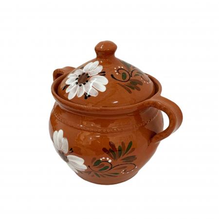 Supiera din ceramica de Arges realizata manual, Argcoms, Cu capac, Cu 2 toarte, Pictura florala3