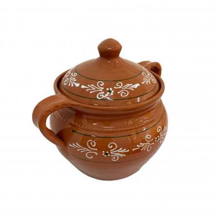 Supiera din ceramica de Arges realizata manual, Argcoms, Cu capac, Cu 2 toarte, Pictura traditionala2