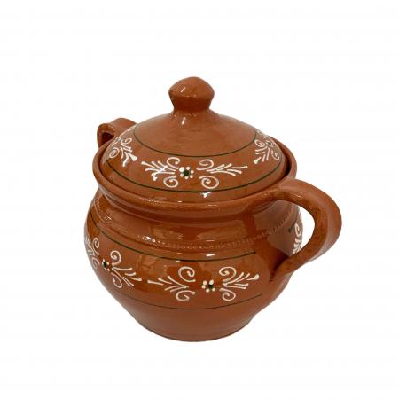Supiera din ceramica de Arges realizata manual, Argcoms, Cu capac, Cu 2 toarte, Pictura traditionala3