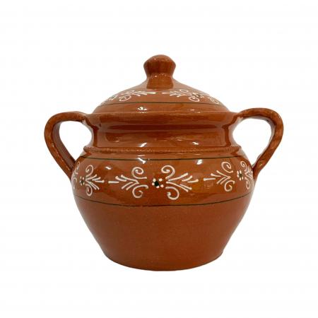 Supiera din ceramica de Arges realizata manual, Argcoms, Cu capac, Cu 2 toarte, Pictura traditionala1