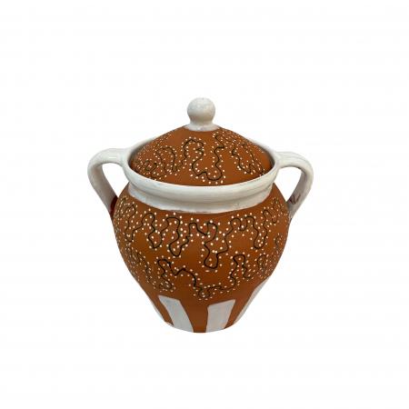 Toitana din ceramica de Arges realizata manual, Argcoms, Glazurata partial, Decor calea ratacita, Mica1