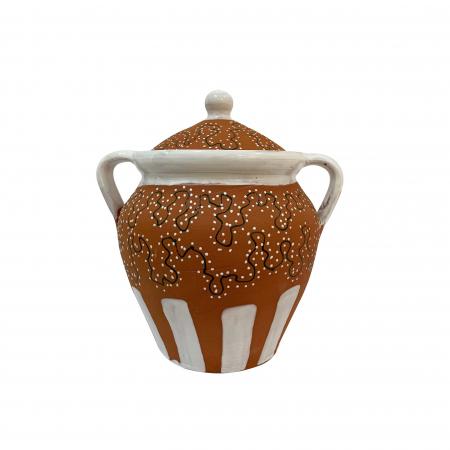 Toitana din ceramica de Arges realizata manual, Argcoms, Glazurata partial, Decor calea ratacita, Mica0