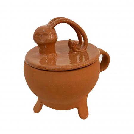 Tripod din ceramica de Arges realizat manual, Argcoms, Tip ceaun, Cap de cerb, Cu capac, Format traditional1